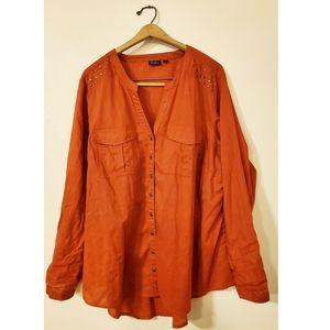 Great Northwest Indigo Orange Button-up Bl…